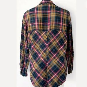 Free People Tops - FREE PEOPLE LACE UP BUTTON DOWN PLAID SHIRT SZ S